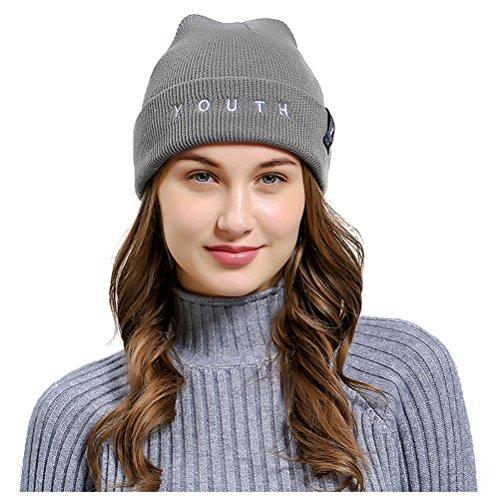Jelinda Unisex Stretchy Cable Knit Beanie Skully Cap Warm Soft Letter Hats (one Size, Light Grey) by Jelinda