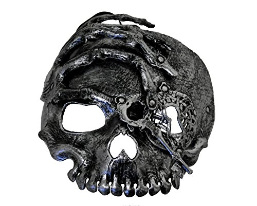 Male Pirate Adult Mask (Arsimus Pirate Skeleton Mask Adult Mens Womens Skull Steampunk Key and Hand (Silver))