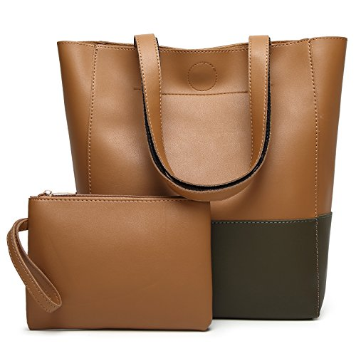 DCCN Women's Ladies Handbags Simple Soft PU Leather Tote Bags Shoulder Bags with 1 Small Wrist Zip Purse Typ1-brown