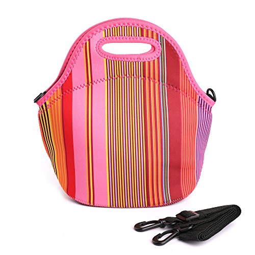 Striped Crossover (Neoprene Lunch Bag,Cute Insulated Lunch Box with Zipper and Adjustable Shoulder Strap,Freezable and Waterproof Lunch Tote Bag for Kids Women Toddler Nurses (Striped, 12