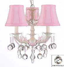White Chic Crystal Chandelier Chandeliers Lighting With 40mm Crystal Balls W/ Pink Shades! - Perfect For Kid's And Girls Bedroom!