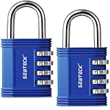 2 pack SEWTL Lock 4 Digit Combination Padlock for Sports and School Gym Locker Toolbox Case Hasp Storage (Blue) - with a Compact Carton Box