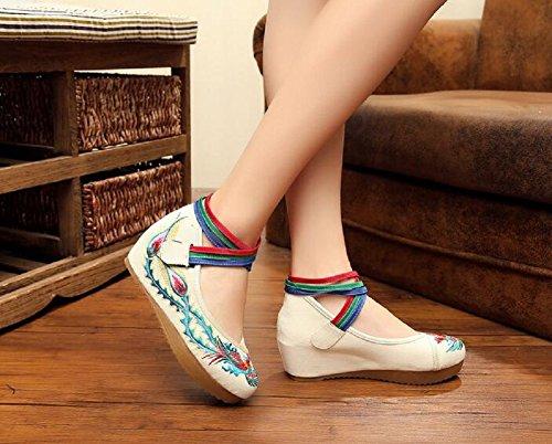 Lazutom Vintage Chinese Style Women Toe Platform Wedges Party Shoes Mary Jane Shoes White P5JzFTa3