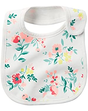 Baby Girls' Flower Feeding Bib - one Size