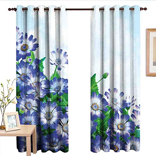 TimBeve Pattern Curtains Floral,Fresh Wildflowers in Grass Vivid Spring Daisy Bloom Over Sky Floral Design Print,Blue Green.jpg,Living Room and Bedroom Multicolor Printed Curtain Sets 84