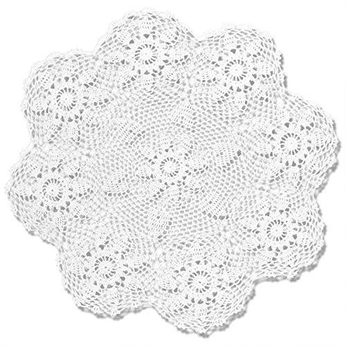 gracebuy 24 Inch White Round Handmade Crochet Lace Tablecloth