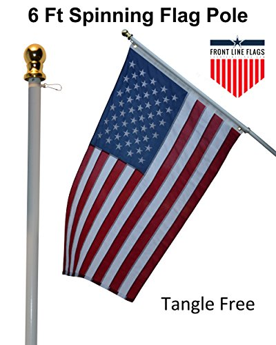 Flag Columbus Ohio - Flag Pole: 6' Ft White Flagpole | Spinning & Tangle Free | Heavy Duty | Wind Resistant and Rust Free | Best Quality Wall Mount Flag Pole | Front Line Flags P/N FL6W