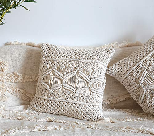Mkono Throw Pillow Cover Macrame Cushion Case (Pillow Inserts Not Included) Set of 2 Decorative Pillowcase for Bed Sofa Couch Bench Car Boho Home Decor,17 Inches - This macrame throw pillow cover has various usage as pillow indoor and outdoor, bolster for any body part, sleeping, watching TV, in-bed readingand. Perfect for decorating your room in a simple and fashion way. Suitable for living room, bed room, office, cafe, ect, and add a touch of graceful color to your home or any other place. Material: Cotton and fabric, Gorgeous, durable and eco friendly decor. Please notes that pillow inserts and other props are not included! Unique design adds texture and interest to any home decor.This knit pillow cover make a boho vibe on sofa, couch, bench, bed or car. - living-room-soft-furnishings, living-room, decorative-pillows - 519wATTl33L -