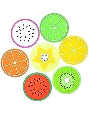 Sulida – Tapete de copo de silicone para copos de frutas, não escorregadios, isolante térmico, colorido, exclusivo, de silicone, 7 peças