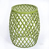 Homebeez Home Garden Accents Wire Round Iron Metal Stripes Stool Side End Table Plant Stand, Hatched Diamond Pattern (Green)