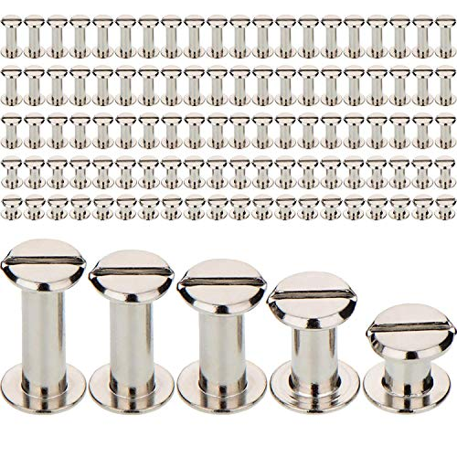 TecUnite 100 Pieces Silvery Chicago Screws Metal Screw Posts Nail Rivet Chicago Button for Leather Bookbinding Crafts, 1/4, 3/8, 1/2, 9/16 and 11/16 Inches