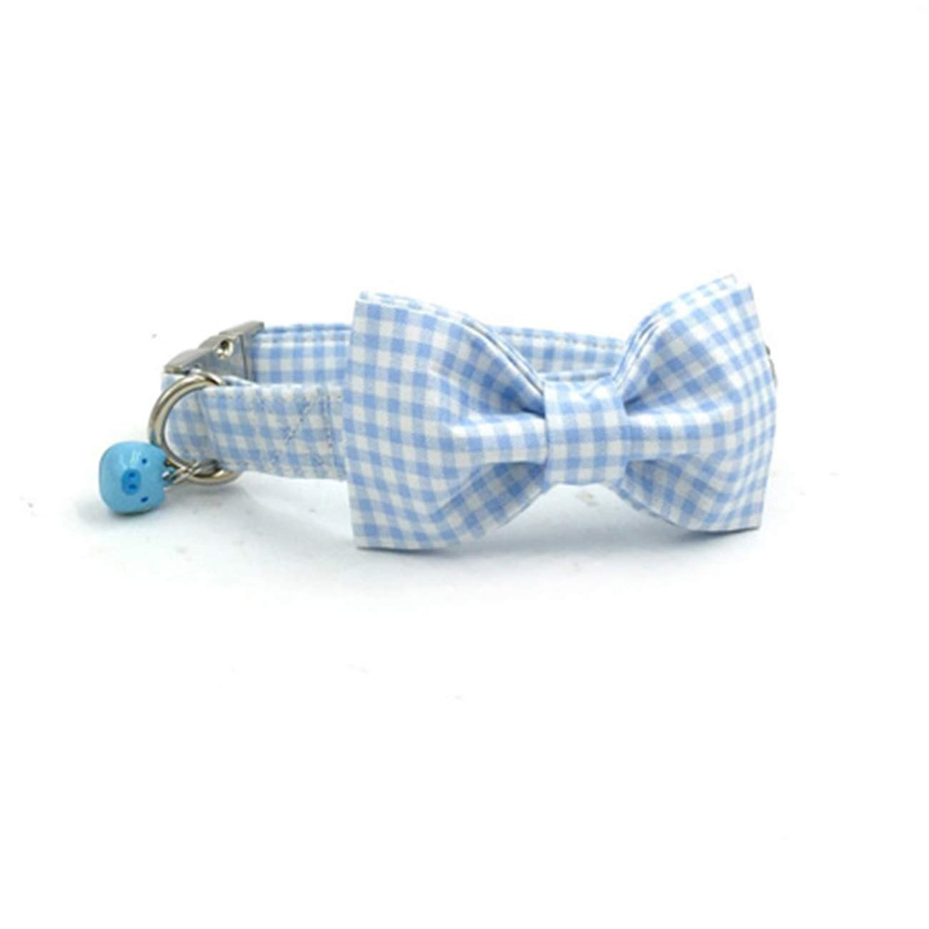 Collar with bowtie XSBeatybag bluee Plaid Dog Collar with bluee Pig Bell and Bow Cotton Dog&Cat Necklace Adjustable Dog Collars and Dog Leash Pet Supply Collar Bow and Leash M
