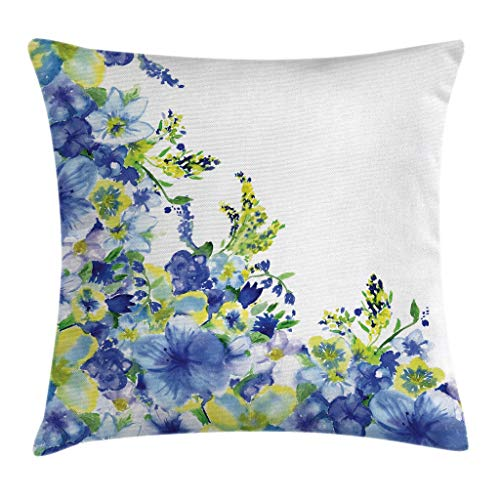 (Ambesonne Watercolor Flower House Decor Throw Pillow Cushion Cover, Motley Floret Motifs with Splash Anemone Iris Revival Theme, Decorative Square Accent Pillow Case, 18 X 18 Inches, Blue Yellow)