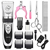 CAHTUOO Dog Clippers,Professional Dog Grooming Clippers Kit Rechargeable Quiet Pet Shaver Cordless Dog