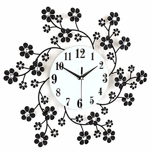 BYLE Wall Clock Quartz Mute Non-Ticking Silent Kitchen Living Room Battery Creative Stylish Long Long Time To Garden E-Iron Insert Drill Living Room Clock Product Home Decoration Wall (Quartz Long Drill)
