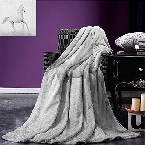 "Black and White travel blanket White Stallion Running Horse Galloping Motion Speed Equestrian Print Flannel blanket White and Black size:51""x31.5"""
