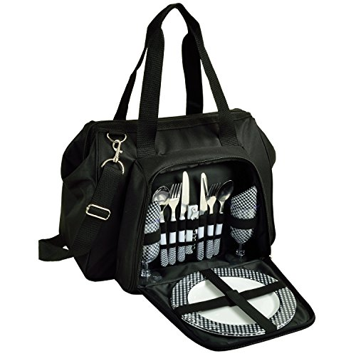 Picnic at Ascot City Picnic/Basket Insulated Cooler Equipped for 2 with Contemporary Shape Wide Cooler Opening, Black/Tweed