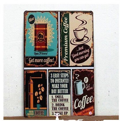 Premium Coffee Metal Tin Sign Vintage Style Wall Ornament Coffee Bar Decor Size 8 12