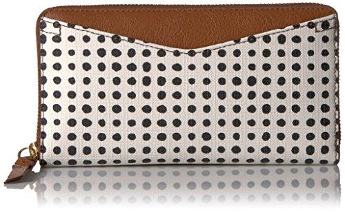 Fossil Caroline Rfid Zip Around Wallet White W/black Wallet