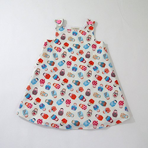 Russian Nesting Doll Girls Dress, Matryoshka, Toddler, Sundress, Pinafore, Casual, Handmade in the USA by April Scott Kids, Sizes 2T, 3T, 4T, 5, 6 by April Scott Kids
