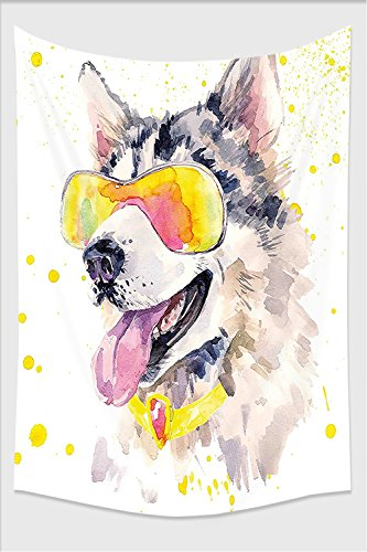 Nalahome-Animal Funny Husky Dog with Sunglasses Humorous Cute Watercolor Cool Puppy Picture Yellow Grey Beige Tapestry Wall Hanging Wall Tapestries 59L x 39.3W - Yellow Rihanna Sunglasses