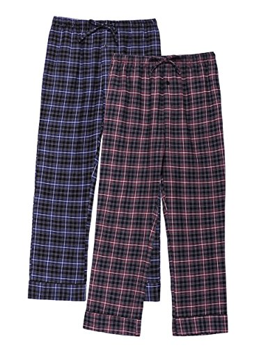 annel Pants - 2pk - Plaid Burgundy-Grey/Navy-Black - Medium (Plaid Check Flannel Pants)