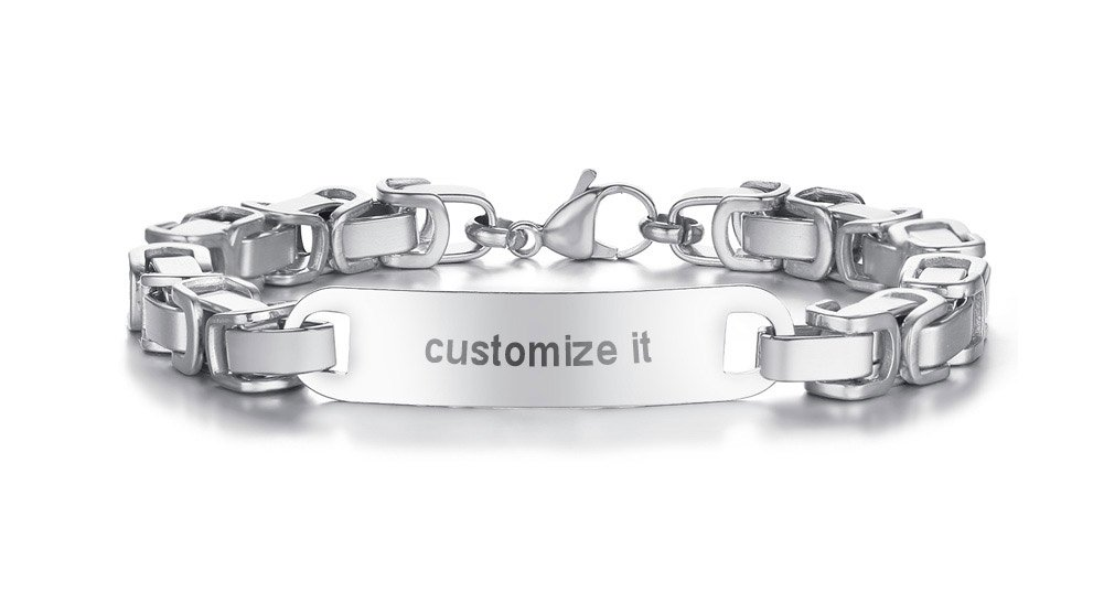 Personalized Custom Engraving Plain Stainless Steel Byzantine Chain ID Tag Nameplate Bar Bracelets for Men