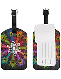 Peacock Feather Leather Cruise Travel USA Luggage Tags Card Bag ID Label (2Pcs)