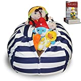 DaMeru European Made Lab Tested Large Stuffed Animal Storage Bean Bag Cover | The Ultimate Storage Solution to Clean Up & Organize Kid's Room | Free E-Book (Blue-Black/White)