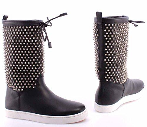 Nappa Botas Zapatos ITA Naza Mujer CHRISTIAN Flat LOUBOUTIN Shearl Silver Spikes q11OYwTxnr