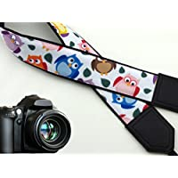 Owl camera strap. Colorful bird camera strap. Black DSLR / SLR Camera Strap. Durable, light weight and well padded camera strap. code 00026