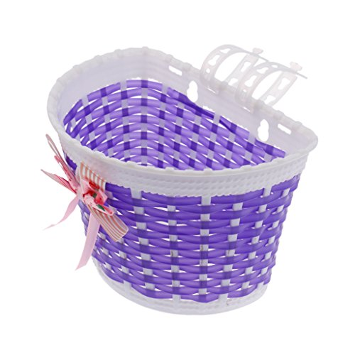 Jili Online Kids Girls Pretty Bike Bicycle Front Basket Shopping Holder Case Easy Mount - Purple, as described