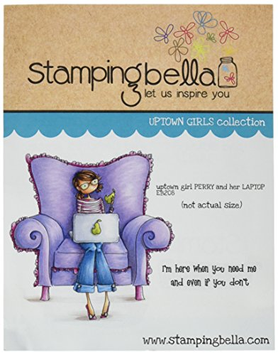 """Stamping Bella Uptown Girl Perry On Her Laptop Cling Rubber Stamp, 6.5"""" x 4.5"""""""