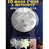 Bundle - 3 Items: Glow in the dark stars, planets and 3d Solar system wall stickers