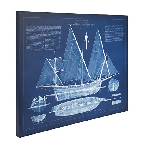 Kate and Laurel Antique Ship Blueprint 24in x 30in Blue Canvas Wall Art