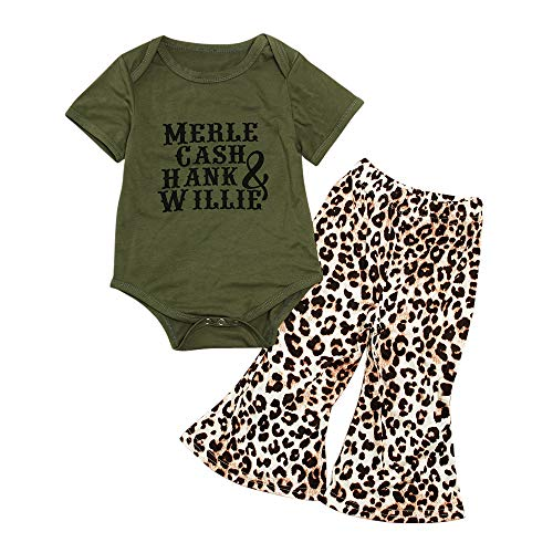 Clothing Set - Green Bodysuit and Leopard Bell Bottoms - Short Sleeve - for Baby Infant Girl