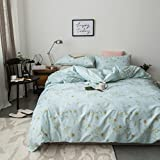 Duvet Cover Set Twin Size 3 Piece (1pc Duvet Cover + 1pc Flat Sheet + 1pc Pillowsham) by WarmGo, 100% Cotton Bedding Set Green Floral Flower Pattern - Not Include Comforter