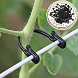 Weite 50 Pieces Self-Locking Plant Vines Tied Buckles Set, Flexible Fixed Strapping Clips Fastener Lashing Hook Twist Ties for Home Office Garden (Black)