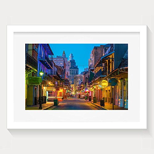ZhiqianDF Unique Pubs And Bars With Neon Lights In The French Quarter New Orleans Usa Framed Wall Art Prints - In Shopping French Orleans New Quarter