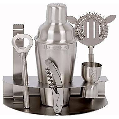 Premium 7 Piece Bar Set & Cocktail Shaker Kit / Free 110 Cocktail Recipe (ebook) Included / Pre-Built Stainless Steel Stand For All Your Bar Pieces