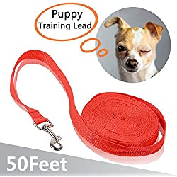 IC ICLOVER Dog Training Leash 50 Ft Long Pet Durable Leash Strap Lead For Dogs with Soft Padded Handle,Red
