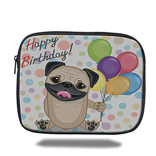 Tablet Bag for Ipad air 2/3/4/mini 9.7 inch,Birthday Decorations for Kids,Animal Cute Dog Smiling Pug with Party Balloons Greeting Card,Multicolor,Bag