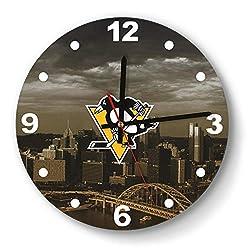 GHUET Modern Pittsburgh-Penguins-City-Yellow-Black-ice-Hockey- Style Wall Clock Acrylic School Quiet Clock