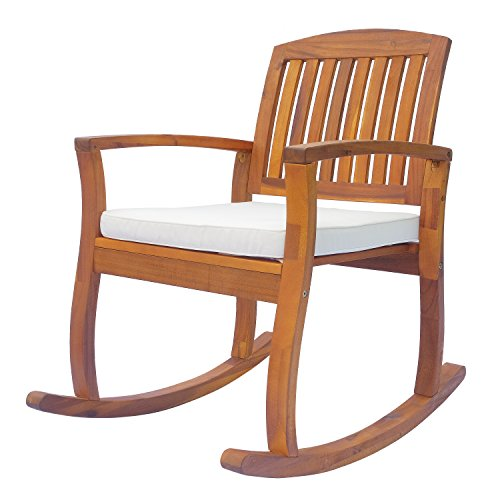 Outsunny Outdoor Patio Acacia Wood Rocking Chair with Cushioned Seat – White