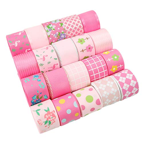 David accessories Printed Fabric Ribbon Grosgrain Satin Ribbons Roll Set 20 Yards(20 x 1 yd) for Crafts Bows Gift Packing Sewing Wedding Party Decorations (Pink)