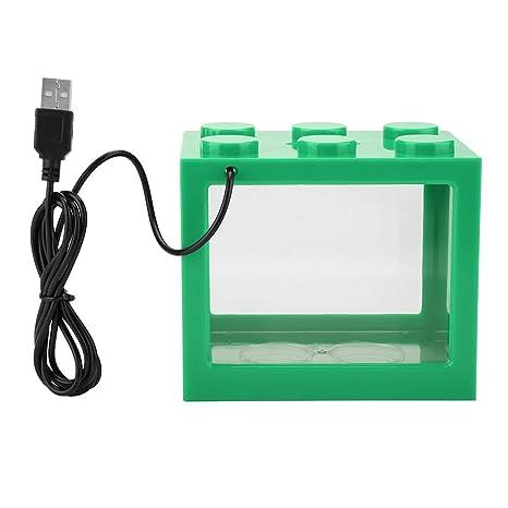 Bicaquu Mini Acuario Decorativo USB LED Lámpara de luz Caja de ...