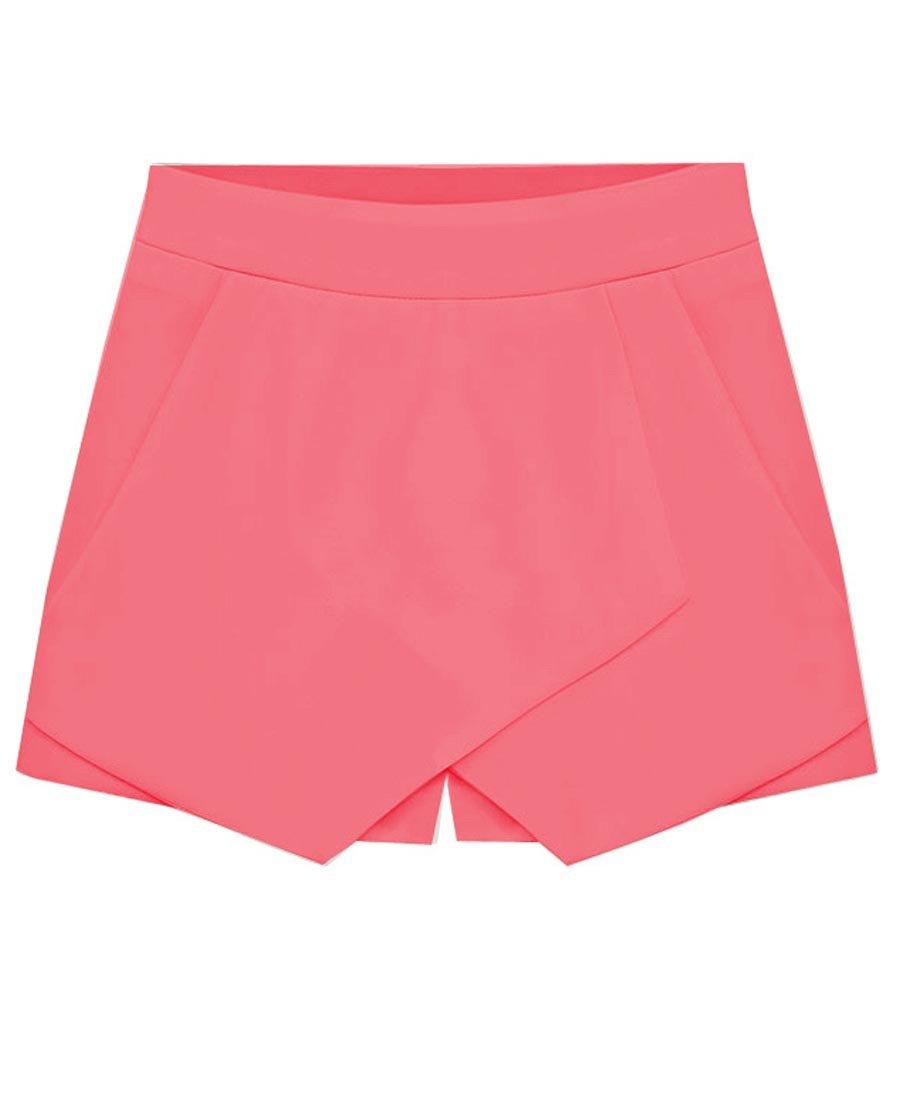 Rofala Women's Asymmetrical Hem Shorts Skort Bodycon Mini Skirt with Pockets ROSH0007