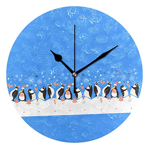 - Funny Penguin Round Clock Non Ticking Excellent Accurate Sweep Movement Glass Cover Modern Decorative Kitchen Living Room Bathroom Bedroom Office