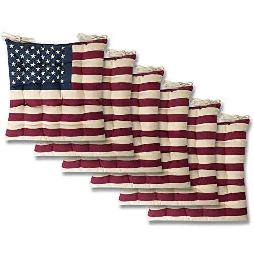 Sweet Home Collection Chair Cushion Seat Pads Indoor/Outdoor Printed Tufted Design Soft and Comfortable Covers for Dining Rooms Patio with Ties for Non Slip, 6 Pack, American Flag (Dining Ikea Wicker Room Chairs)