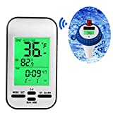 Yowosmart Professional Wireless Pool Thermometer Floating Solar Powered Thermometer for Pool, Spa, Bathtub and fishpond
